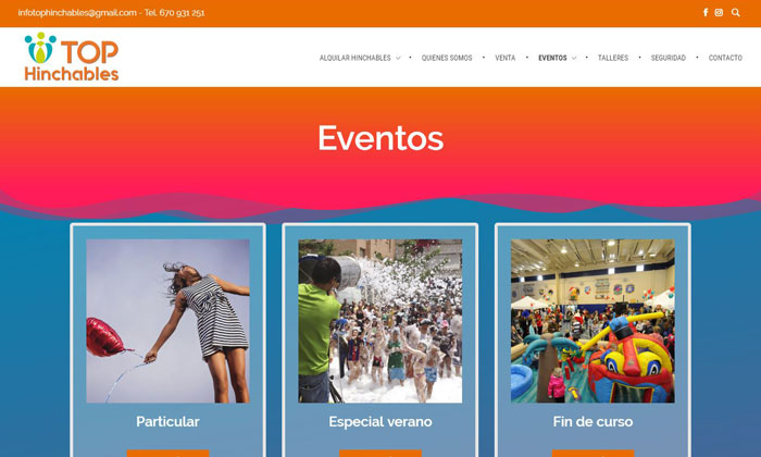 Captura página eventos de Top Hinchables